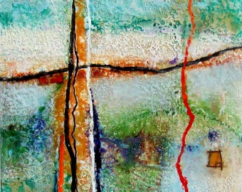 Original Encaustic Painting-Abstract Landscape- Highly Textured Beeswax Painting - Encaustic Art - KLynnsArt