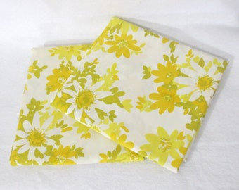 Pair (2) of vintage sheet pillowcases - yellow, white and mustard flowers