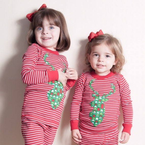Children's Christmas PJs Boys and Girls striped pajama set