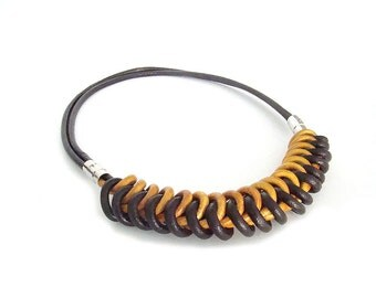 Golden Yellow and Brown Leather Knot Necklace