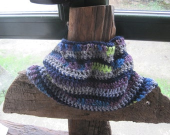 Cowl, circle scarf, scarf,neck warmer, crocheted in blues and greys.