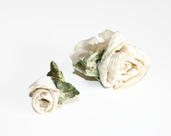 Corsage Boutonniere Set, Fiber Art Flowers, Cream Roses Bridal Party Flowers, Anniversary Corsage, Wedding Flowers,Prom Corsage,Flower Pin