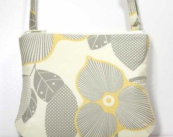 Small Zipper Crossbody Bag Small Shoulder Purse Sling Bag Cross Body Bag - Yellow and Gray Optic Blossom on Cream - Amy Butler Fabric