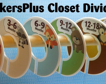 Custom Closet Dividers Organizers Assembled or PreCut DIY Woodland Animals Deer Bear Squirrel Fox Owl Raccoon Baby Boy Toddler Nursery Gift