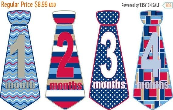 SALE Monthly Baby Stickers Baby Boy Necktie Neck Tie Stickers Milestone Baby Age Stickers Red White Blue Stripes Dots Retro Swirly Lines