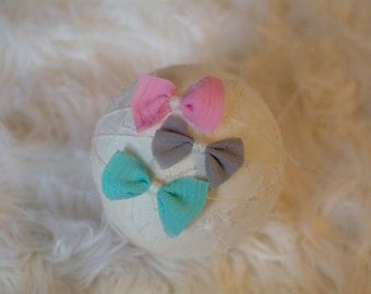 Newborn Tie Back Headband, SET of 3 Gauze Bow Tie Backs in Pink, Grey and Turquoise, Newborn Photography Prop, Sweet, Girl, Baby, Headband