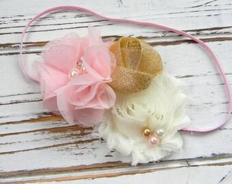 Light Pink Ivory and Gold Shabby Chic Headband - Pink Chiffon Headband - Shabby Chic Headband - Baby Chiffon Headband