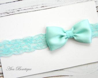 Aqua Bow Headband - Baby Lace Headband - Aqua Satin Bow Headband - Aqua Lace Headband
