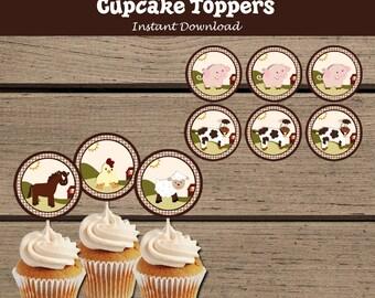 Farm Animals Cupcake toppers. Farm Animals Baby Shower. Barnyard Animals cupcake toppers. Farm Baby Shower. Barnyard Baby Shower. Horse. Pig