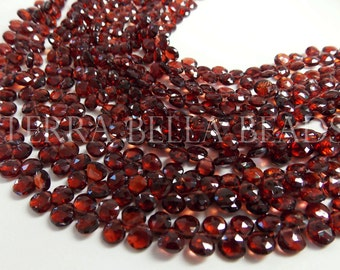 """8"""" strand AAA red MOZAMBIQUE GARNET faceted heart briolette gem stone beads 5mm - 6mm"""
