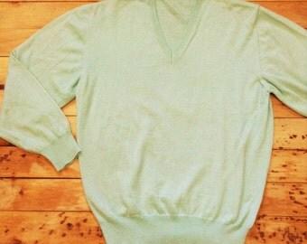 French Designer  1960s Men Mid Season Sweater Pull-Over & V Neck - Aqua Green - MADE IN ITALY - New - L