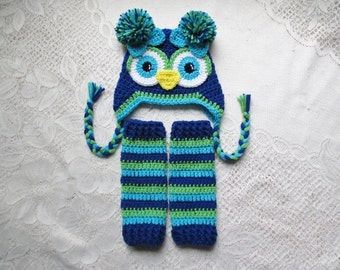 READY TO SHIP - 6 to 12 Month Size - Royal Blue, Turquoise and Lime Owl Hat and Leg Warmers - Costume or Photo Prop Set