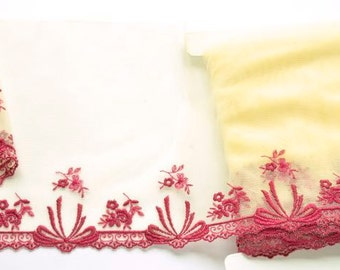 Wine Red and Yellow Floral Lace Trim, Yellow Lace, Victorian Style Lace, Tutus, Yellow Lingerie, Dolls