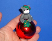 Polymer Clay Gray Cat on Large Glass Ball Ornament