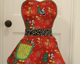 Christmas Apron-Girls Apron-Girls Mickey and Friends Flounce Apron