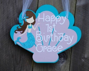 Mermaid Birthday Brown Haired Party Door Sign, Mermaid Baby Shower, Mermaid 1st Birthday