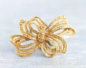 Bow Scarf Ring - Antique Scarf Holder Golden Filigree and patina