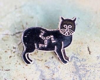 Little Stylized Cat - Black Enamel Brooch - Isle of Man