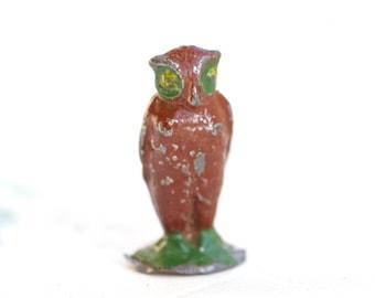 Iron Cast Owl - Antique Miniature Lead Toy