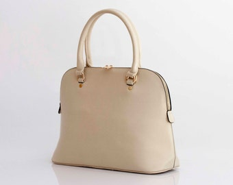 Leather Handbag Shoulder Bag in Vegan Leather Cream Handmade -  the Masek - NEW COLLECTION