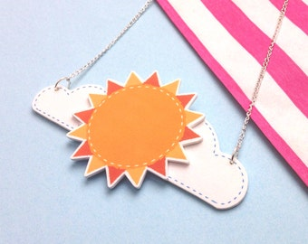 Cute 3D Sun and Clouds Necklace