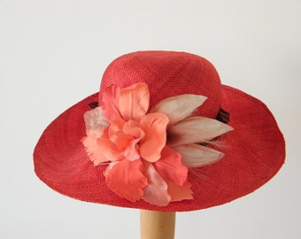 red long brim summer hat / elegant sun protection hat / wide brim ladies hat / black and red Audrey Hepburn hat made in Israel