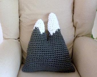 Mountain pillow twin peaks cushion grey mountains pillow