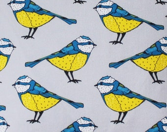 Blue Tit Fabric - upholstery fabric - curtain fabric - bird fabric - fabric by the yard - blue tit - fabric by the metre - fabric