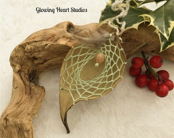 Mint essence milkweed dream catcher ornament - organic natural dreamcatcher jobs tear seed