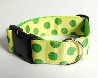 "1.5"" Dog Collar - Green Polka Dots on Yellow"