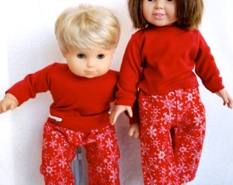 Red Flannel Lounge Pants with long sleeved red knit shirt for 15 and 18 inch dolls