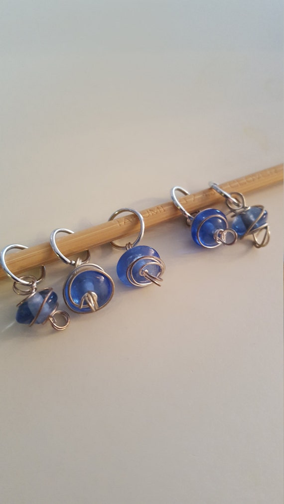 Decorative Knitting Stitch Markers : Small Blue Swirl Knitting Stitch Markers from EvidentlyMotley on Etsy Studio