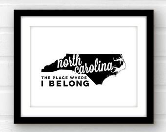 North Carolina wall art | North Carolina home decor | North Carolina print | Raleigh NC print | Charlotte NC art | state wall art