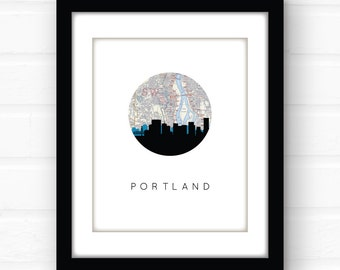 Portland Oregon art | Portland map print | Portland skyline | Portland art print | Portland Oregon map | Portland print | travel map art