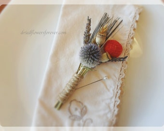 Dried & Preserved Flower Boutonniere - Fall Rustic Wedding - Orange, Lavender, Grey, Gray Blue, Billy Balls - Tequila Sunrise Collection