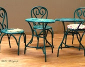 Vintage Lundby dolllhouse metal tables and chairs