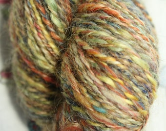 Hand spun yarn, 100% merino wool. Subtle rainbow - colour way. 103gms DK weight