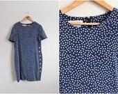 80s Polka Dots Dress / 1980s Dress / Silk Dress / Size M/L