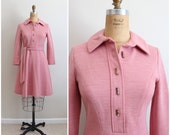 60s Pink Mod Dress / 1960s Brenner Couture / Fit and flare Dress / Size S/M