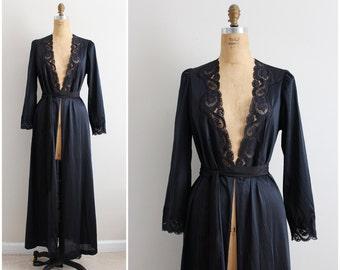 Vintage 70s Olga Nightgown Black Robe/ Full Robe Slip/  Wedding Slip / Lace lingerie/ Size S/M