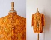 60s orange feather flames design printed silk puffed mini dress M