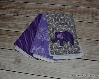 Elephant Burp Cloths Boutique Purple Gray Burp Cloth Set - Elephant Applique Burp Cloths Purple Burp Cloths