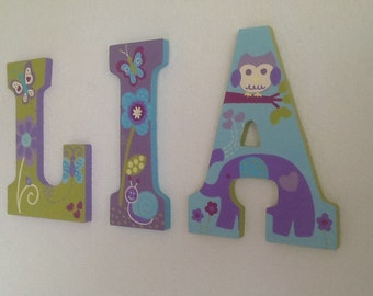 Custom Painted Girl's Letters - Nojo Dreamland / Elephants / Owls (Price per letter)