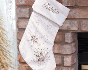 Personalized Jeweled White Christmas Stocking -gfyS96519