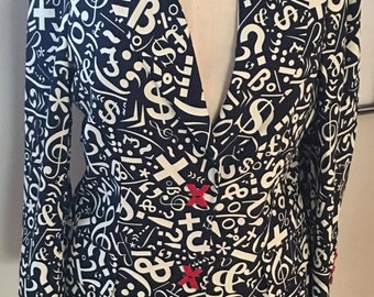 MOMS SALE Vintage Moschino Cheap and Chic Moschino Black and White Symbols Sign Jacket Blazer