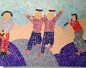 Vintage Syrian Childrens artwork mosaic from UNESCO art showing