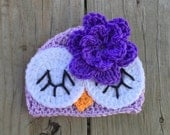 Baby Toddler Girl PURPLE Crochet Sleepy OWL Beanie Hat w/Daisy -- You Pick Size: Newborn to 10yrs