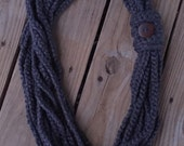 Ladies Misses Crochet NECKLACE COWL Button Braided-Look Scarf ~ One Size Fits ALL ~ You Pick Color! ~ Warm Winter Stylish Trendy Accessory