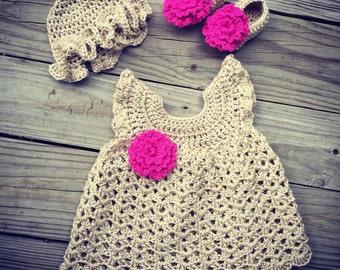 Newborn Baby Girl Hot Pink and Tan Crochet SUNDRESS, Sunhat & Slipper Shoes With Flowers Set ~ Super Cute For Summer!