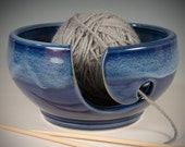 Yarn / Knitting Bowl - cobalt and textured blue flowing glaze - Wheel Thrown Stoneware by Seiz Pottery